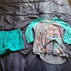 girls size 7/8 MUDD graphic t and teal green short